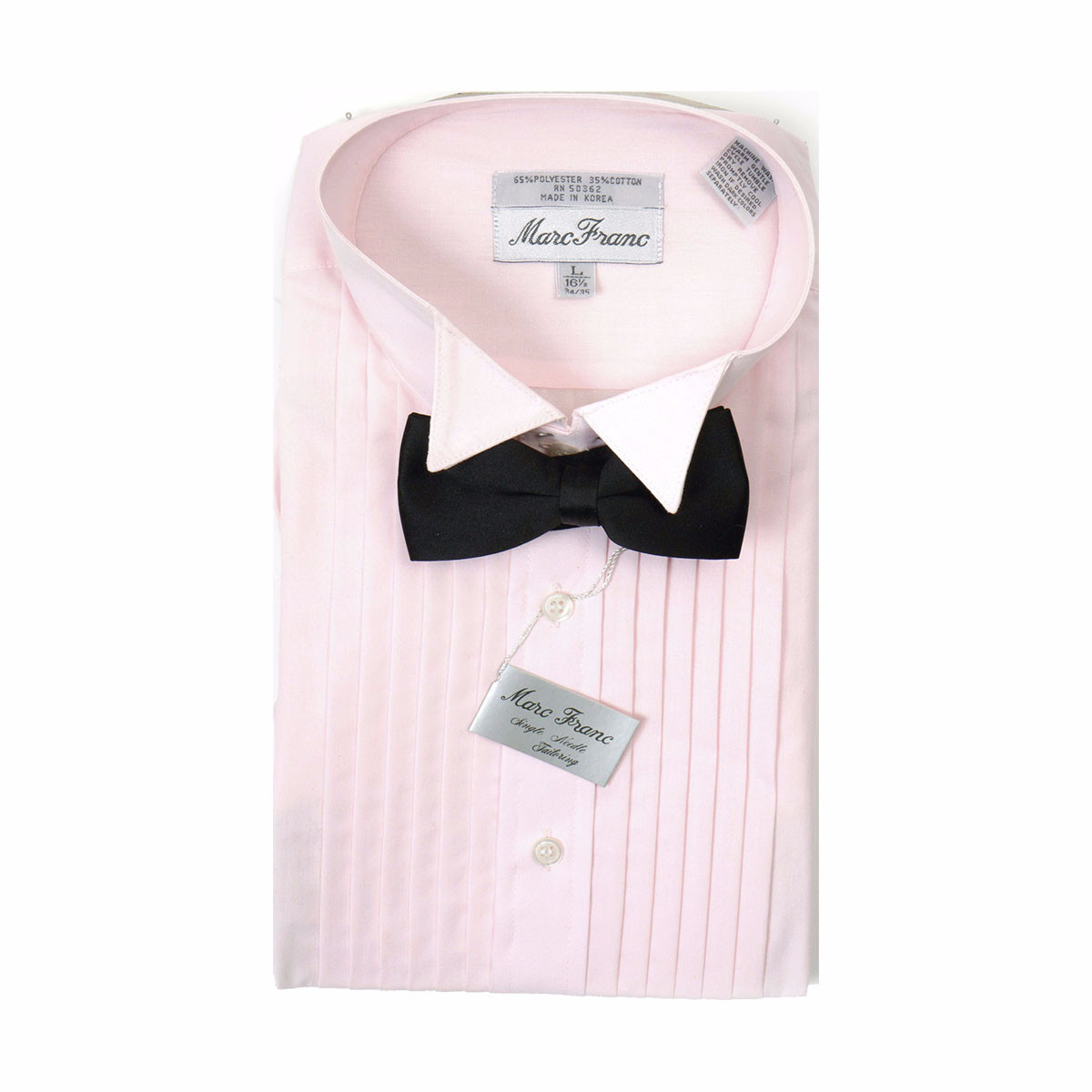 Mens Pink Tuxedo Shirt Wing Collar 14 Pleats 1600 Ethic